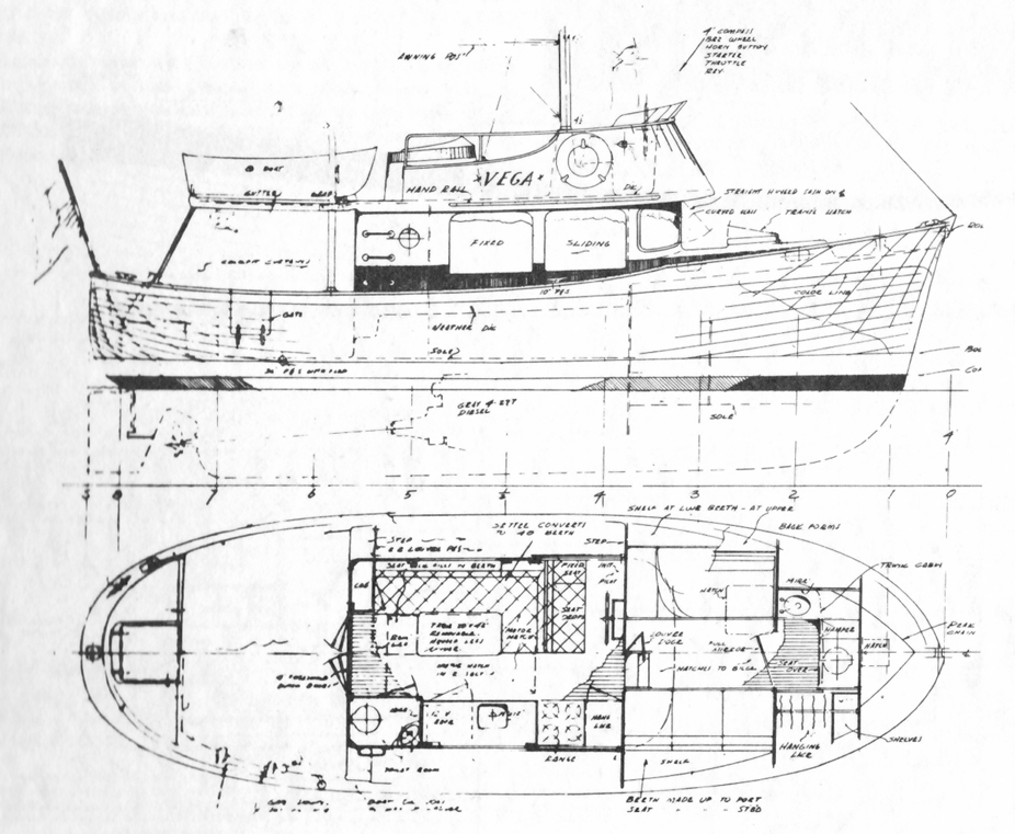 Drawing the boottop for William garden sailboat designs
