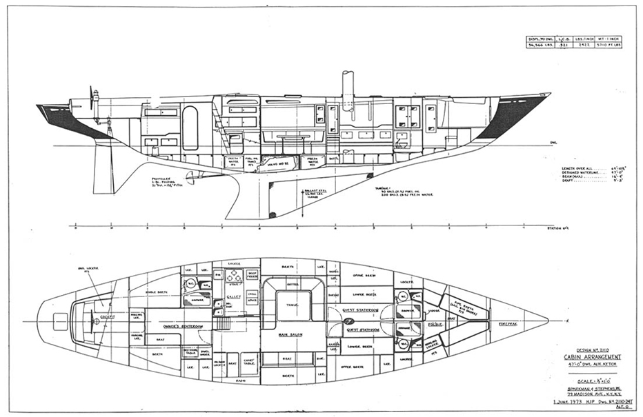 Swan 65 interior arrangement