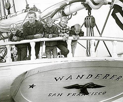 Sterling Hayden and his kids on the stern of Wanderer