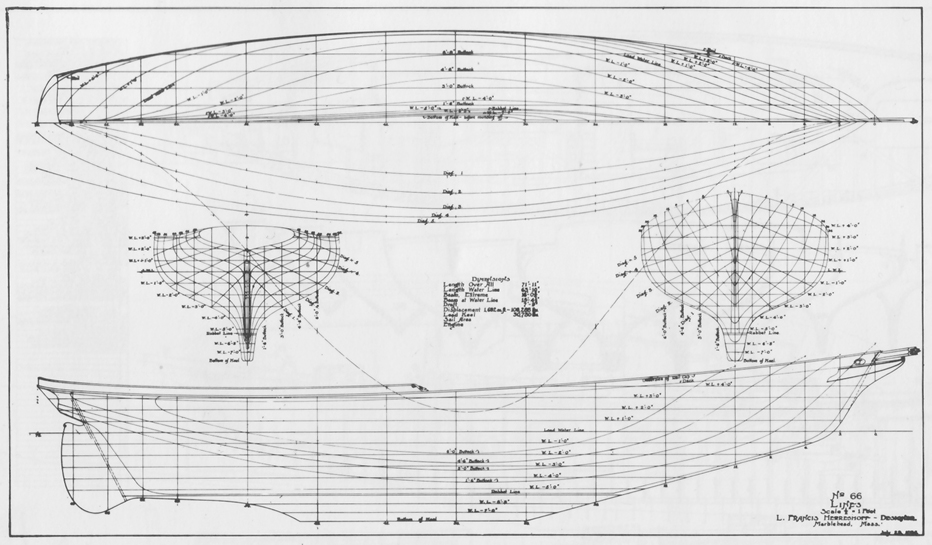 Hull lines of Tioga II
