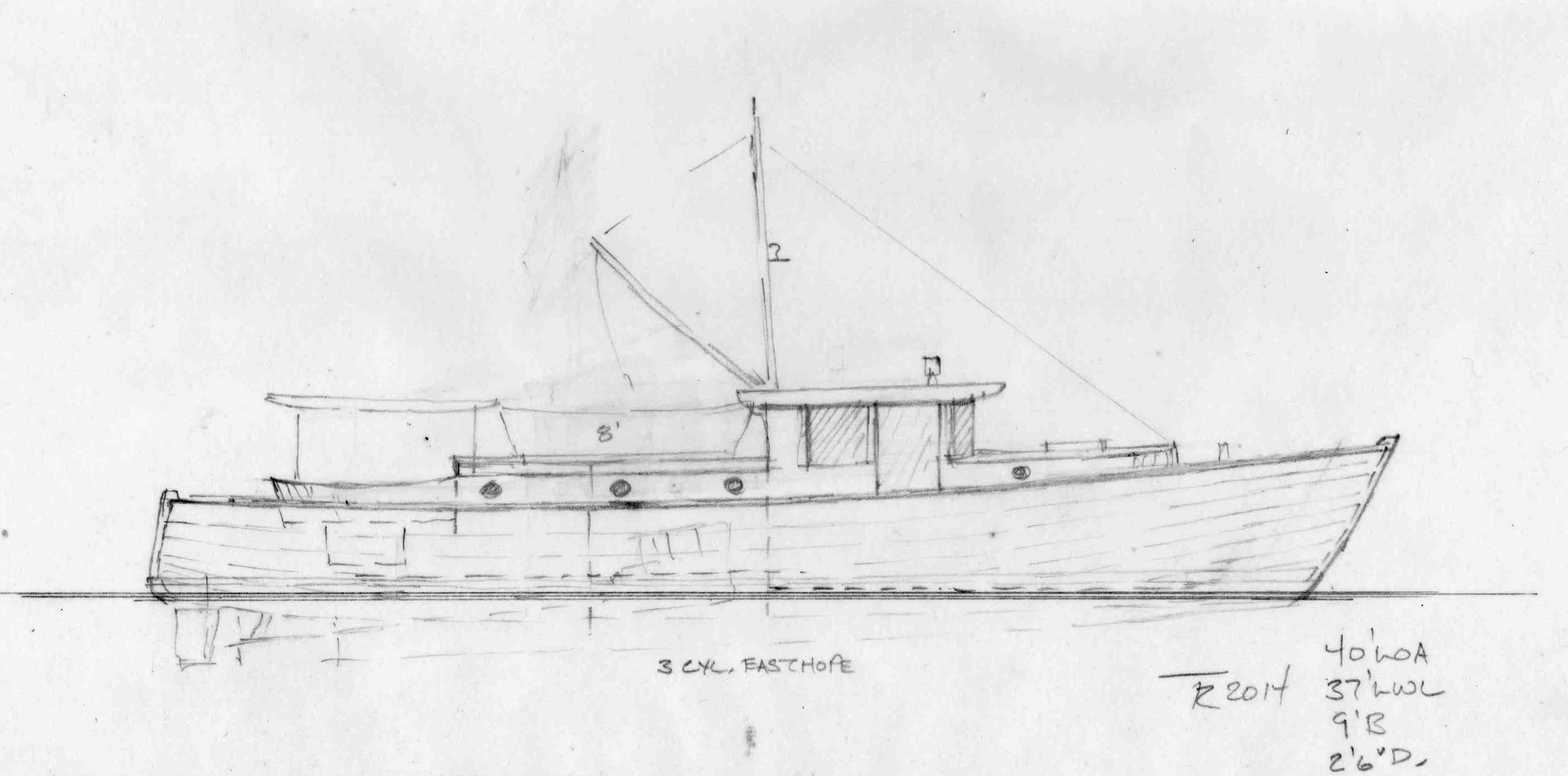 40' Cruiser for Easthope engine