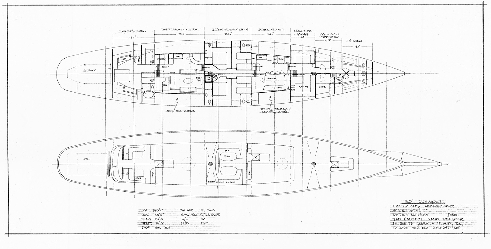 160' Schooner arrangement