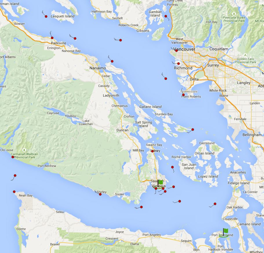 Local winds May 29th 2015, R2ak pre-start