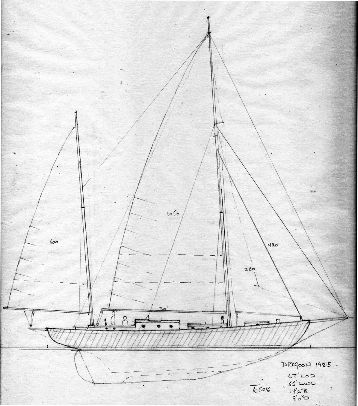 Sketch Sailplan of Dragoon re-created by Tad Roberts