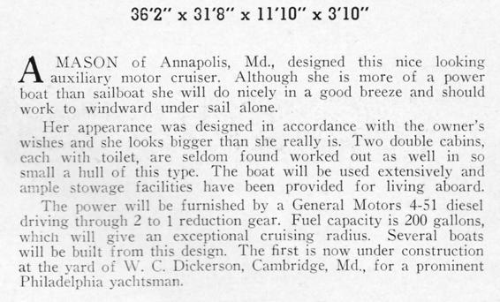 Al Mason 36' motorboat description